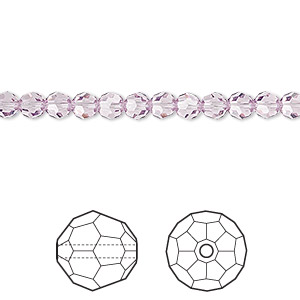 bead, swarovski crystals, crystal passions, light amethyst, 4mm faceted round (5000). sold per pkg of 12.