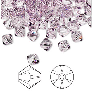 bead, swarovski crystals, crystal passions, light amethyst, 6mm xilion bicone (5328). sold per pkg of 24.