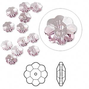 bead, swarovski crystals, crystal passions, light amethyst, 6x2mm faceted marguerite lochrose flower (3700). sold per pkg of 12.