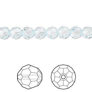 bead, swarovski crystals, crystal passions, light azore, 6mm faceted round (5000). sold per pkg of 12.