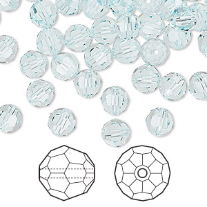 bead, swarovski crystals, crystal passions, light azore, 6mm faceted round (5000). sold per pkg of 144 (1 gross).