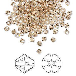 bead, swarovski crystals, crystal passions, light colorado topaz, 3mm xilion bicone (5328). sold per pkg of 144 (1 gross).