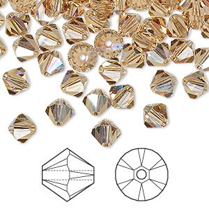 bead, swarovski crystals, crystal passions, light colorado topaz ab, 6mm xilion bicone (5328). sold per pkg of 144 (1 gross).
