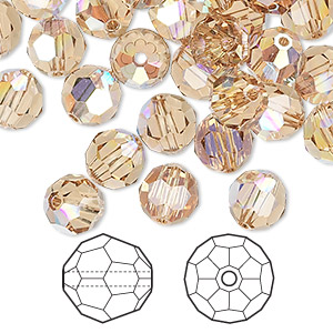 bead, swarovski crystals, crystal passions, light colorado topaz ab, 8mm faceted round (5000). sold per pkg of 144 (1 gross).
