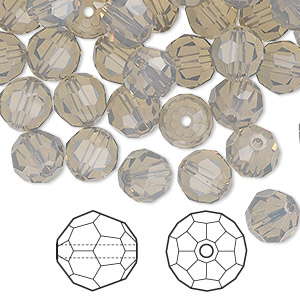 bead, swarovski crystals, crystal passions, light grey opal, 8mm faceted round (5000). sold per pkg of 144 (1 gross).