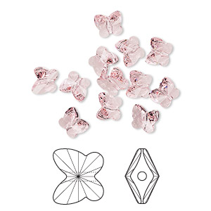 bead, swarovski crystals, crystal passions, light rose, 10x9mm faceted butterfly (5754). sold per pkg of 12.