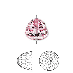 bead, swarovski crystals, crystal passions, light rose, 14x11mm faceted dome small (5542). sold per pkg of 6.
