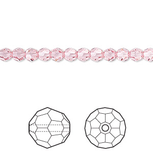 bead, swarovski crystals, crystal passions, light rose, 4mm faceted round (5000). sold per pkg of 12.