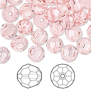 bead, swarovski crystals, crystal passions, light rose, 8mm faceted round (5000). sold per pkg of 144 (1 gross).