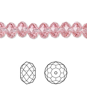 bead, swarovski crystals, crystal passions, light rose, 8x6mm faceted rondelle (5040). sold per pkg of 12.