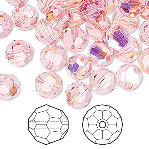 bead, swarovski crystals, crystal passions, light rose ab, 8mm faceted round (5000). sold per pkg of 144 (1 gross).