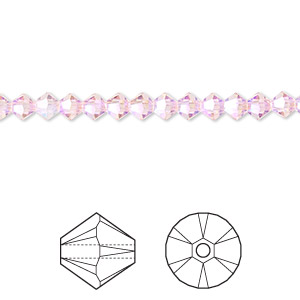 bead, swarovski crystals, crystal passions, light rose ab2x, 4mm xilion bicone (5328). sold per pkg of 48.