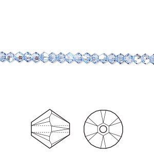 bead, swarovski crystals, crystal passions, light sapphire shimmer, 3mm xilion bicone (5328). sold per pkg of 144 (1 gross).