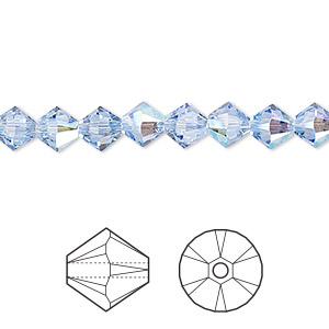 bead, swarovski crystals, crystal passions, light sapphire shimmer, 6mm xilion bicone (5328). sold per pkg of 144 (1 gross).