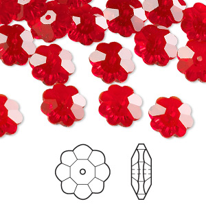 bead, swarovski crystals, crystal passions, light siam, 10x3.5mm faceted marguerite lochrose flower (3700). sold per pkg of 12.
