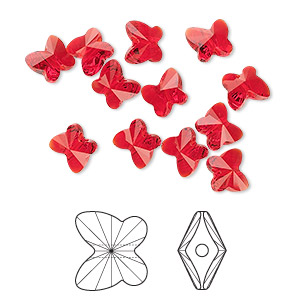 bead, swarovski crystals, crystal passions, light siam, 6x5mm faceted butterfly (5754). sold per pkg of 12.