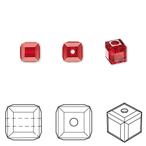 bead, swarovski crystals, crystal passions, light siam, 6x6mm faceted cube (5601). sold per pkg of 48.