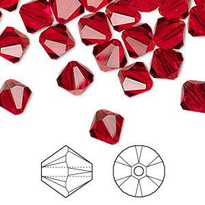 bead, swarovski crystals, crystal passions, light siam, 8mm xilion bicone (5328). sold per pkg of 72.