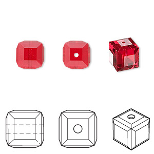 bead, swarovski crystals, crystal passions, light siam, 8x8mm faceted cube (5601). sold per pkg of 48.