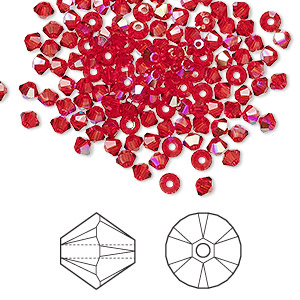 bead, swarovski crystals, crystal passions, light siam ab, 3mm xilion bicone (5328). sold per pkg of 144 (1 gross).