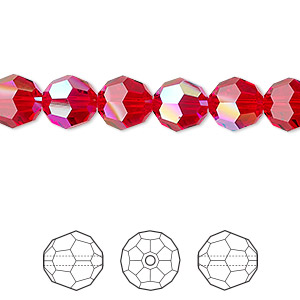 bead, swarovski crystals, crystal passions, light siam shimmer, 8mm faceted round (5000). sold per pkg of 144 (1 gross).