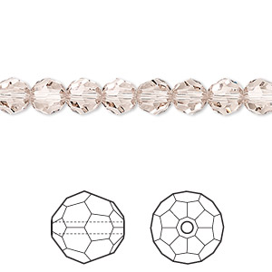 bead, swarovski crystals, crystal passions, light silk, 6mm faceted round (5000). sold per pkg of 12.