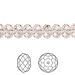 bead, swarovski crystals, crystal passions, light silk, 8x6mm faceted rondelle (5040). sold per pkg of 12.