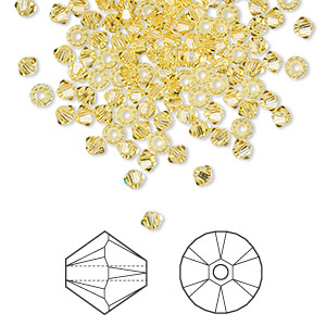 bead, swarovski crystals, crystal passions, light topaz, 3mm xilion bicone (5328). sold per pkg of 48.