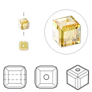 bead, swarovski crystals, crystal passions, light topaz, 4x4mm faceted cube (5601). sold per pkg of 12.