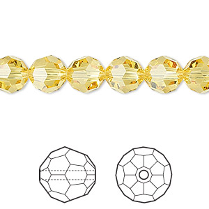 bead, swarovski crystals, crystal passions, light topaz, 8mm faceted round (5000). sold per pkg of 12.