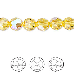 bead, swarovski crystals, crystal passions, light topaz shimmer, 8mm faceted round (5000). sold per pkg of 12.