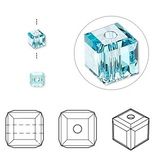 bead, swarovski crystals, crystal passions, light turquoise, 4x4mm faceted cube (5601). sold per pkg of 12.