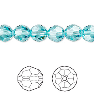 bead, swarovski crystals, crystal passions, light turquoise, 8mm faceted round (5000). sold per pkg of 144 (1 gross).