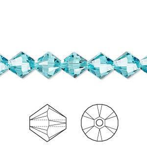bead, swarovski crystals, crystal passions, light turquoise, 8mm xilion bicone (5328). sold per pkg of 12.