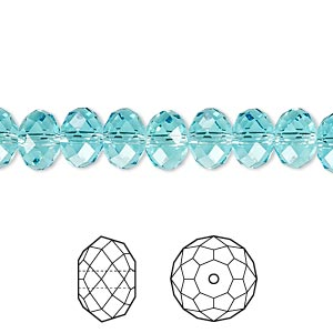 bead, swarovski crystals, crystal passions, light turquoise, 8x6mm faceted rondelle (5040). sold per pkg of 144 (1 gross).