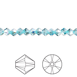 bead, swarovski crystals, crystal passions, light turquoise ab, 4mm xilion bicone (5328). sold per pkg of 144 (1 gross).
