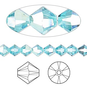 bead, swarovski crystals, crystal passions, light turquoise ab, 6mm xilion bicone (5328). sold per pkg of 24.