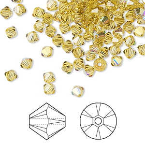 bead, swarovski crystals, crystal passions, lime ab, 4mm xilion bicone (5328). sold per pkg of 144 (1 gross).