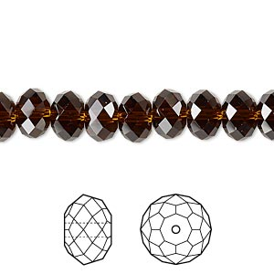 bead, swarovski crystals, crystal passions, mocca, 8x6mm faceted rondelle (5040). sold per pkg of 144 (1 gross).