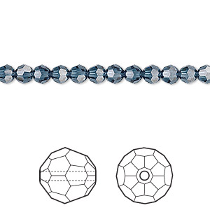 bead, swarovski crystals, crystal passions, montana, 4mm faceted round (5000). sold per pkg of 12.