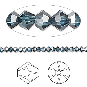bead, swarovski crystals, crystal passions, montana satin, 3mm xilion bicone (5328). sold per pkg of 48.