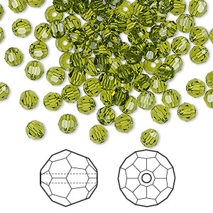 bead, swarovski crystals, crystal passions, olivine, 4mm faceted round (5000). sold per pkg of 144 (1 gross).