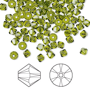 bead, swarovski crystals, crystal passions, olivine, 4mm xilion bicone (5328). sold per pkg of 144 (1 gross).