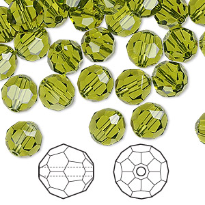 bead, swarovski crystals, crystal passions, olivine, 8mm faceted round (5000). sold per pkg of 144 (1 gross).