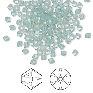 bead, swarovski crystals, crystal passions, pacific opal, 3mm xilion bicone (5328). sold per pkg of 144 (1 gross).
