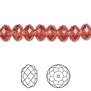 bead, swarovski crystals, crystal passions, padparadscha, 8x6mm faceted rondelle (5040). sold per pkg of 12.