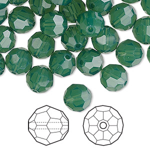 bead, swarovski crystals, crystal passions, palace green opal, 8mm faceted round (5000). sold per pkg of 144 (1 gross).