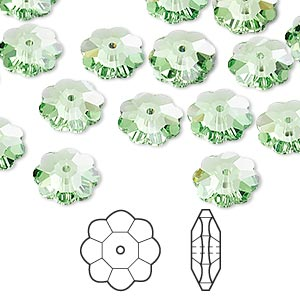bead, swarovski crystals, crystal passions, peridot, 10x3.5mm faceted marguerite lochrose flower (3700). sold per pkg of 12.