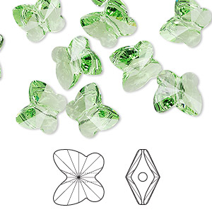 bead, swarovski crystals, crystal passions, peridot, 10x9mm faceted butterfly (5754). sold per pkg of 12.