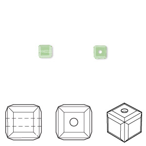 bead, swarovski crystals, crystal passions, peridot, 4x4mm faceted cube (5601). sold per pkg of 48.